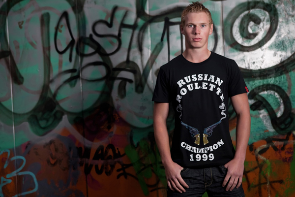 Russian Roulette Black T-Shirt from Twisted Beak Clothing